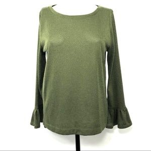J. Crew Size Large Green Sparkle Bell Sleeve Top